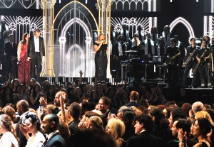Queen Latifah and musicians perform onstage as 30 couples are married during the 56th GRAMMY Awards at Staples Center on Jan. 26, in Los Angeles. / Kevork Djansezian / Getty Images