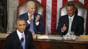 Speaker John Boehner and President Obama at this year's State of the Union Address. / AP