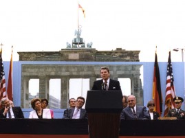 "Speaking at Berlin's Brandenberg Gate in October 1987, President Ronald Reagan called for Soviet leader Gorbachev to ""tear down this wall."""