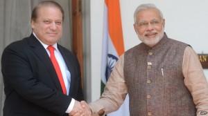 India's Narendra Modi, right, and Pakistan's Nawaz Sharif.