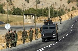 Troops on patrol in southeast Turkey.  /AP