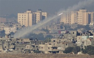 A Hamas rocket is fired from the Gaza Strip.  /AP