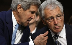 U.S. Secretary of State John Kerry, left, and Defense Secretary Chuck Hagel.  /Mark Wilson/Getty Images
