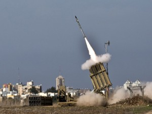 A missile is launched from the Iron Dome defense system in Ashdodl, Israel in response to a rocket launched from Gaza Strip on Nov. 18, 2012. / Jack Guez / AFP / Getty Images