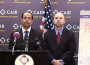 CAIR's Nihad Awad, left, and Corey Saylor at a press conference.