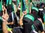 Hamas members at rally in Rafah.