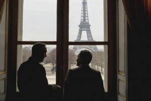 Gen. Joseph F. Dunford, left, and Gen. Pierre de Villiers, view the Eiffel Tower while meeting at Ecole Militarie in Paris on Jan. 22. / DoD photo by D. Myles Cullen