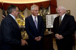 Former defense secretaries, from left, Leon Panetta, Chuck Hagel and Robert Gates. /DoD Photo by Erin A. Kirk-Cuomo