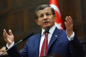 Turkish Prime Minister Ahmet Davutoglu speaks during an AKP meeting in Ankara, on May 3. /AFP/Adem Altan