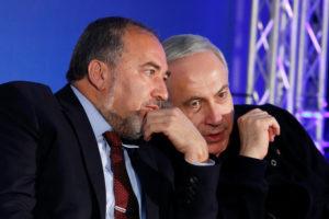 Avigdor Lieberman and Israeli Prime Minister Benjamin Netanyahu. /Reuters