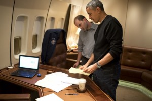 President Barack Obama and Ben Rhodes on board Air Force One. /Pete Souza/White House