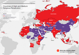 Purple indicates high religious persecution and red, medium religious persecution in a 2014 report on religious freedom.