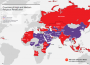 Purple indicates high religious persecution and red, medium religious persecution in a 2014 report on religious freedom.