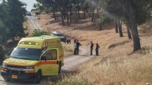Rescuers at the site of a May 10 stabbing attack that left two elderly women wounded. /Magen David Adom