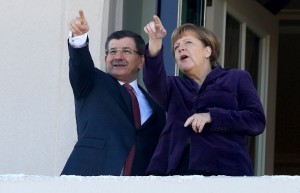 Turkish Prime Minister Ahmet Davutoglu (left) and German Chancellor Angela Merkel meet in Ankara on Feb. 8, 2016. /AFP/Adem Altan