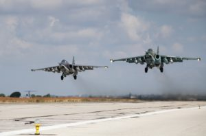 Russian Su-25 attack aircraft take off from the Khmeimim airbase in Syria. /Sputnik