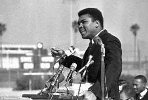 Ali speaks to a crowd of 1,500 students in Los Angeles in February, 1968. He spent much of his time banned from boxing speaking against the war at public events across the nation.