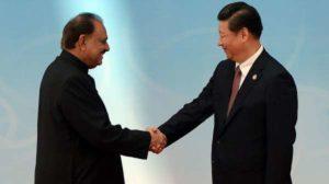 Pakistani President Mamnoon Hussain meets China's Xi Jinping in Tashkent.