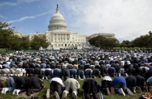 Muslims praying on the Washington Mall, Sept. 25, 2009.