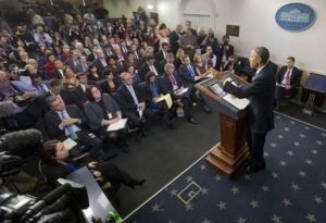 President Barack Obama addresses the White House press corps. /AP