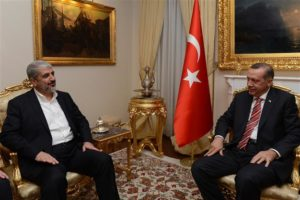 Turkish President Recep Tayyip Erdogan, right, with Hamas leader Khaled Masha'al. /AA photo