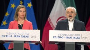 European Union for Foreign Affairs and Security Policy Federica Mogherini, left, and Iranian Foreign Minister Mohammad Javad Zarif attend a final press conference of Iran nuclear talks in Vienna, Austria on July 14, 2015. /Joe Klamar/AFP
