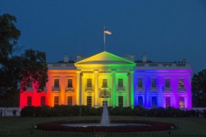 The North Portico of the White House is illuminated with rainbow colors. /EPA