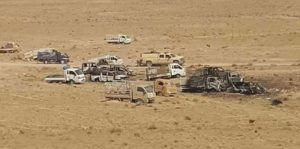 Vehicles from the ISIL convoy destroyed by airstrikes near Fallujah. /Iraq Counterterrorism Service via AP