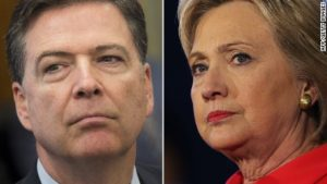 Intending to let her slide: James Comey and Hillary Clinton. /AFP/Getty Images
