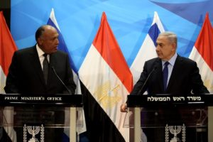 Israeli Prime Minister Benjamin Netanyahu (R) gives a joint statement with Egyptian Foreign Minister Sameh Shoukry prior to their meeting at his Jerusalem office on July 10. /AFP Photo/Gali Tibbon