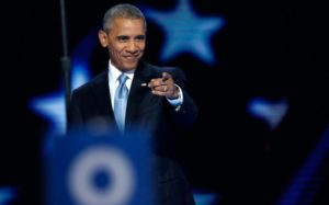 President Barack Obama at the Democratic National Convention on July 27. /Reuters