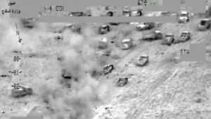 screengrab showing an airstrike near Fallujah, Iraq, on Wednesday. Iraqi Ministry of Defense