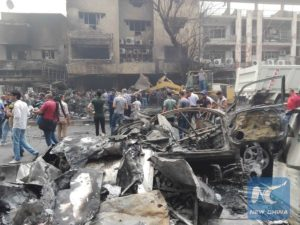 car bomb attack site in Karrada-Dakhil district of southern Baghdad, Iraq. /Xinhua/Khalil Dawood