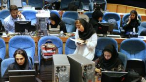 Iran journalists cover election results.