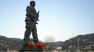 Statue in Kacanik, Kosovo honors members of the Brigade 162 of the Kosovan Liberation Army.
