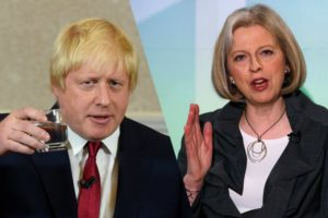 New Prime Minister Theresa May, right, and new Foreign Minister Boris Johnson.
