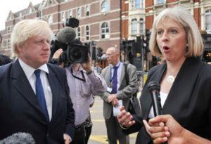 London Mayor Boris Johnson, left, and Theresa May in 2015.