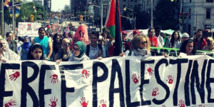 University students rally against Israel during Israeli Apartheid Week. /Facebook