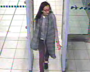Kadiza Sultana, a British schoolgirl, in a video still of her passing through security at Gatwick Airport last year before she and two fellow teenagers boarded a flight to Turkey and then a bus to Syria. /Metropolitan Police, via Reuters