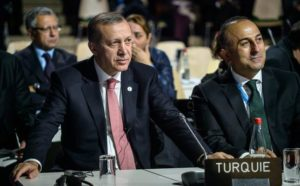 Turkish President Recep Tayyip Erdogan, left, and Foreign Minister Mevult Cavusoglu. /EPA