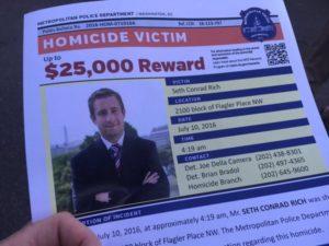 Reward flyer for information on murder of Seth Conrad Rich.