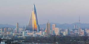Skyline of Pyongyang, North Korea, the city where elites with good ideological credentials are allowed to live.