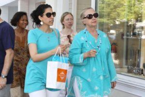 Hillary Clinton with aides Huma Abedin and Cheryl Mills and daughter Chelsea Clinton.