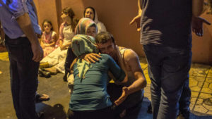 Relatives grieve at a hospital Aug. 20, 2016, in Gaziantep following a late night militant attack on a wedding party. /Getty Images