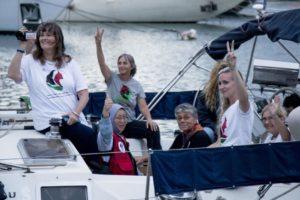Activists on The Women's Boat to Gaza flotilla. /Anadolu Agency