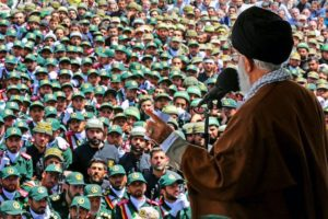 Iranian supreme leader Ayatollah Ali Khamenei speaks at the IRGC military academy.