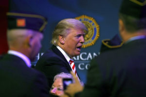 Republican presidential candidate Donald Trump at the American Legion Convention in Cincinnati, Ohio, on Sept. 1. /Aaron P. Bernstein/Getty Images