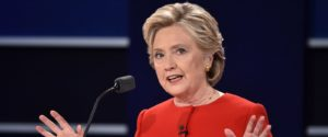 Hillary Clinton speaks during the first presidential debate.