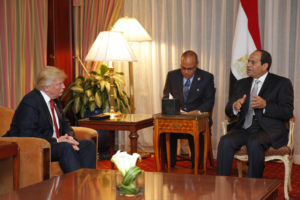 Donald Trump meets with Egyptian President Abdul Fatah Sisi on Sept. 19. /AFP/Getty Images