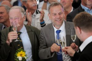 Leif-Erik Holm (centre) and Alexander Gauland (left) of the anti-immigration party Alternative for Germany (AfD) after exit polls in the Mecklenburg-Vorpommern state election on Sept. 4. /Reuters